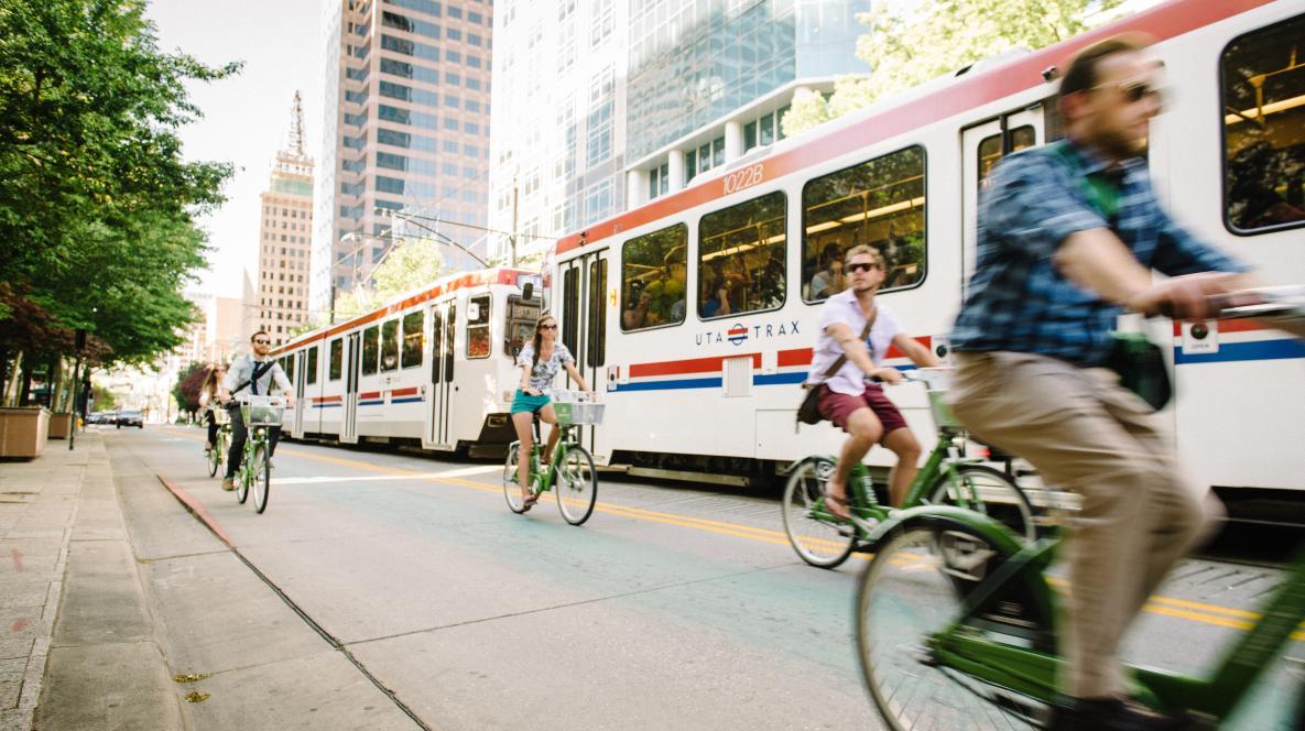 GREENbike Alongside Trax in downtown Salt Lake