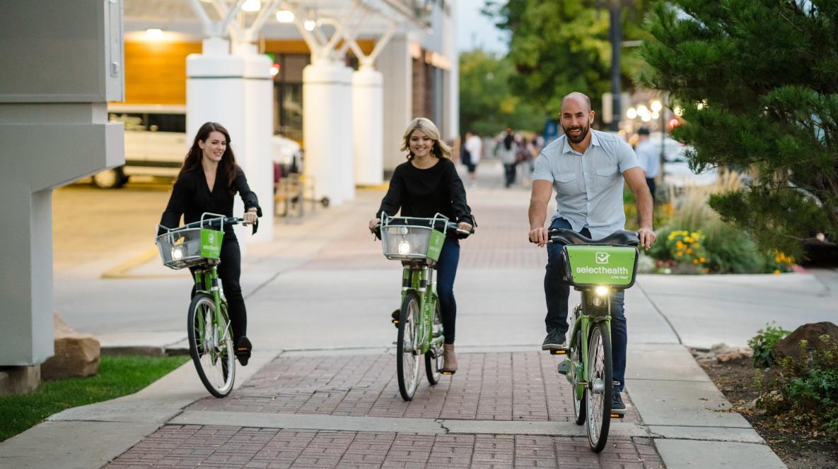 Riding GREENbike in Downtown Salt Lake