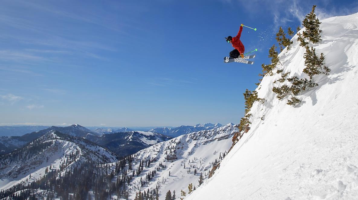 Skier Catching Air at Mineral Basin at Snowbird