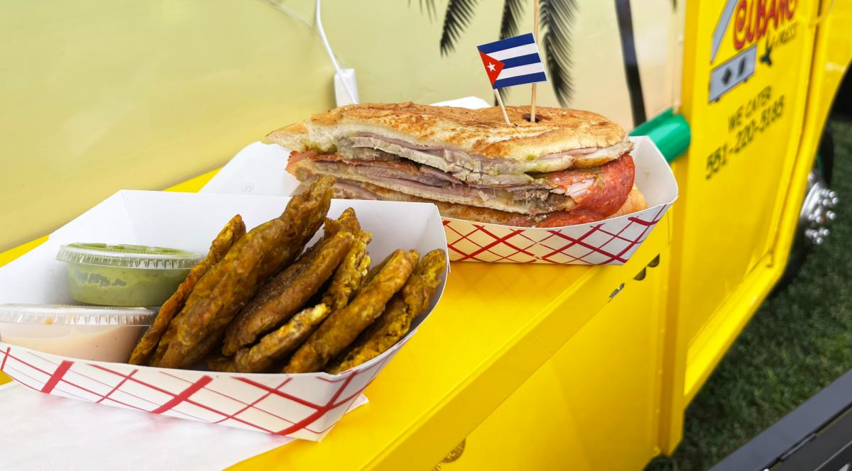 A Cubano caliente sandwich and fried plantains from Cubano X-Press at Plaza Tropical at Musikfest