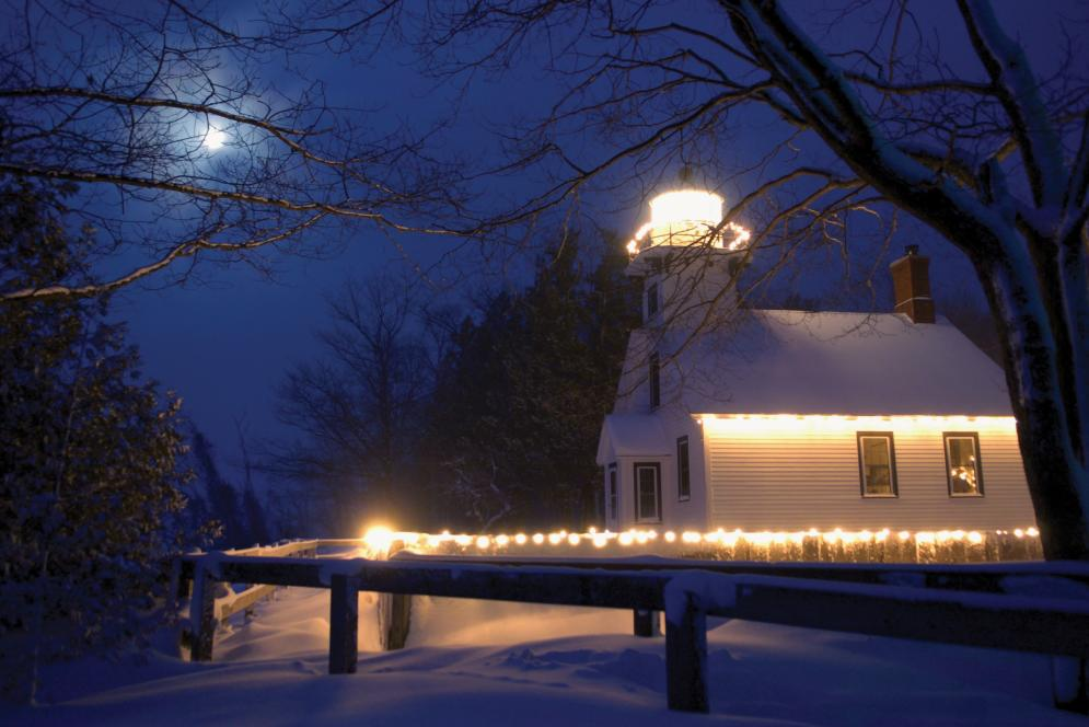 Mission Point Lighthouse at Christmas