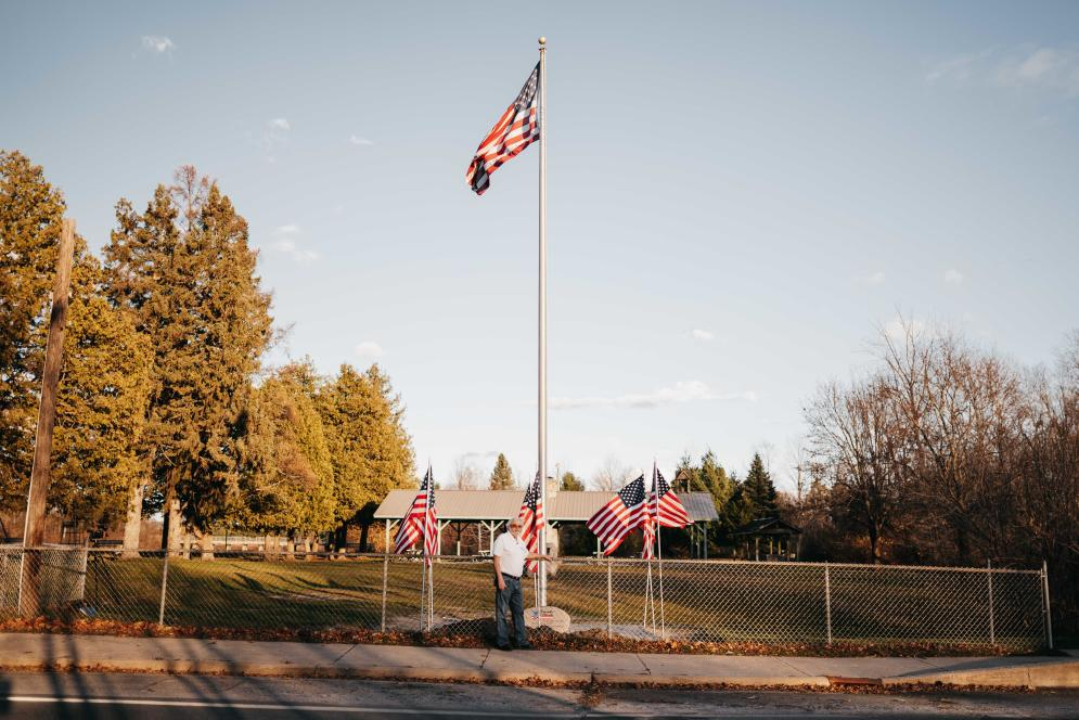 Don Waara: Flag pole in Richardi Park, Bellaire MI