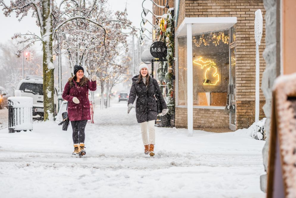 Shopping Downtown in the Winter