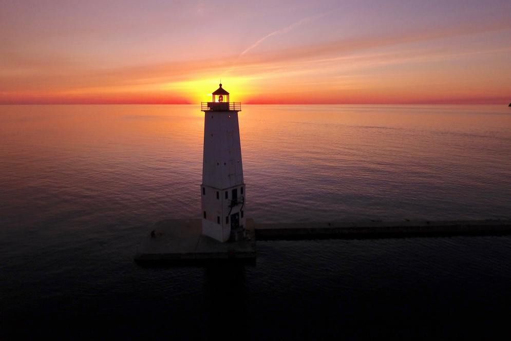 Frankfort Lighthouse at sunset in Benzie County, Michigan