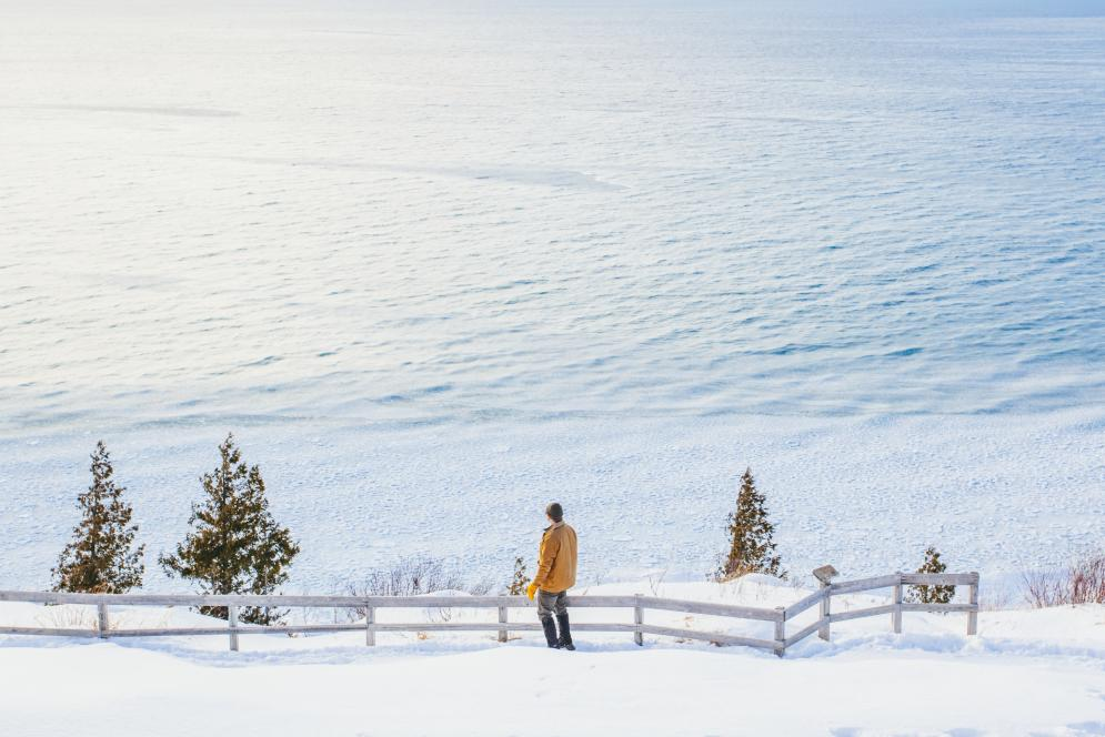 Winter at Empire Bluff Trail at the Sleeping Bear Dunes