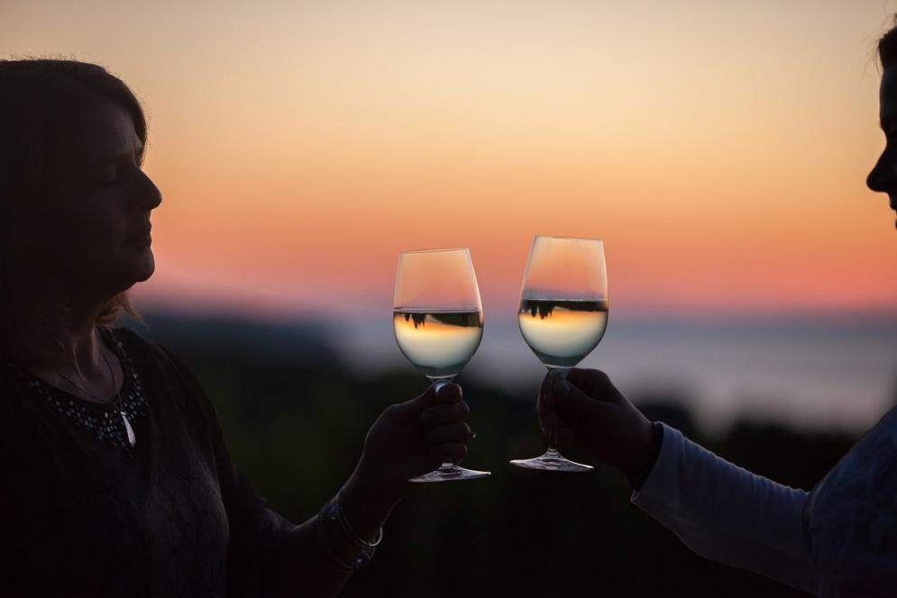 A couple toasts their wine glasses while enjoying a beautiful Michigan sunset