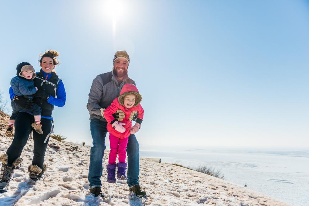 Family at Empire Bluff in the Sleeping Bear Dunes