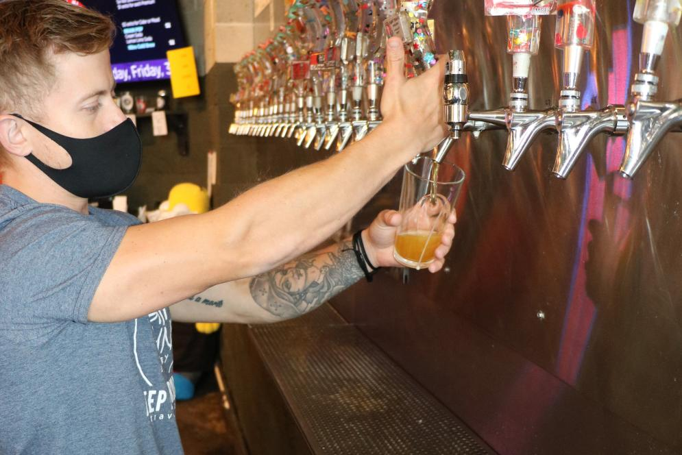 Pouring Beer at Right Brain Brewery