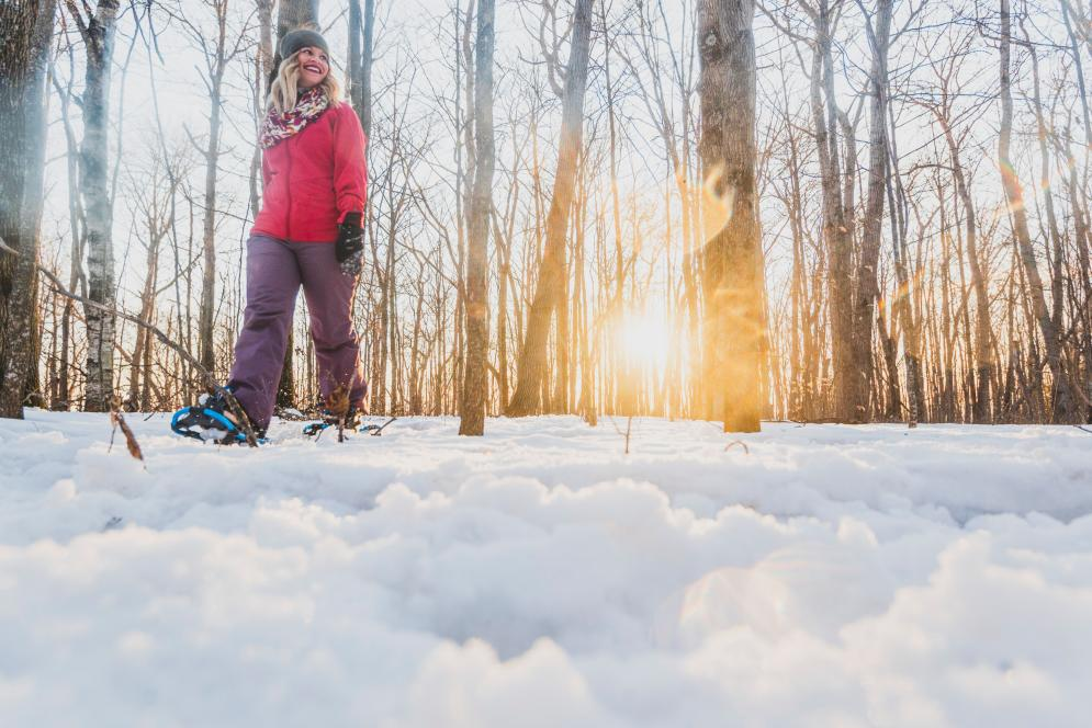 Snowshoeing on a Trail at the Sleeping Bear Dunes