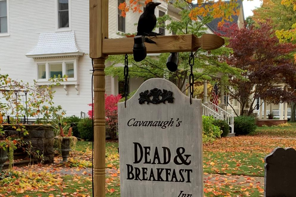 House Decorated for Halloween in Traverse City's Central Neighborhood District