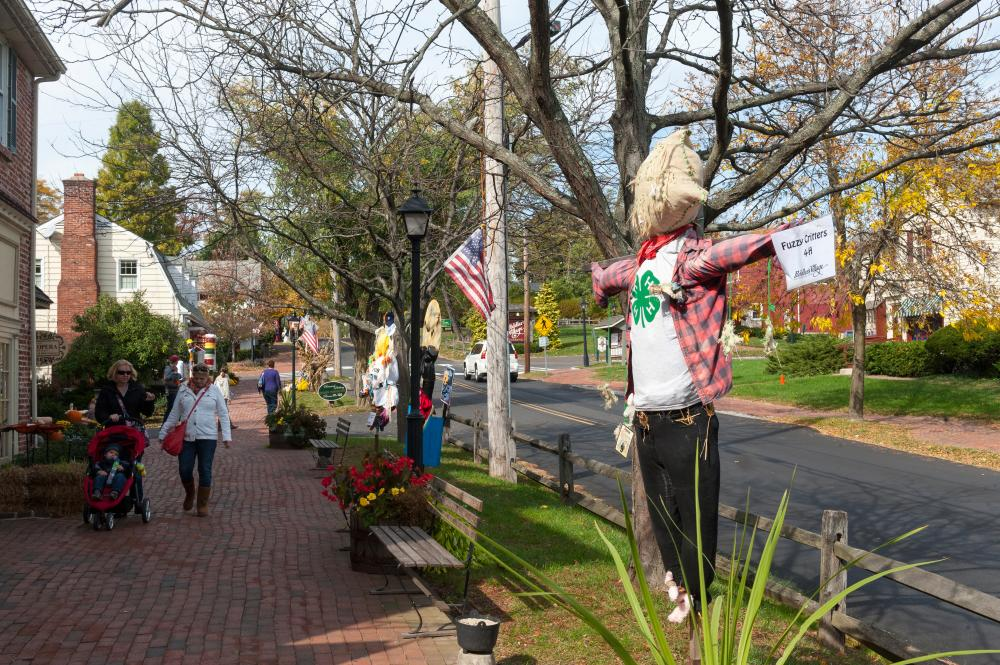 Check out larger than life scarecrow creations displayed along the brick pathways of Peddler's Village.