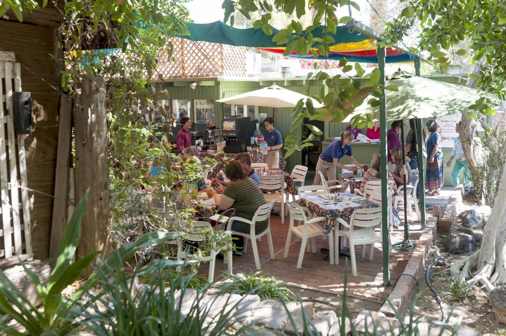 Garden Cafe with green tree leaves