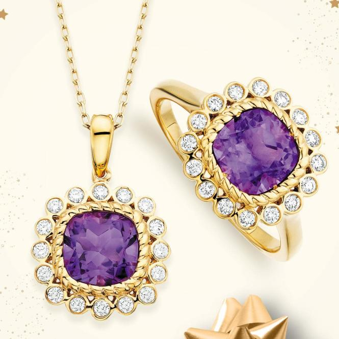 Amethyst ring and necklace with diamond accents from Annapolis Jewelers.