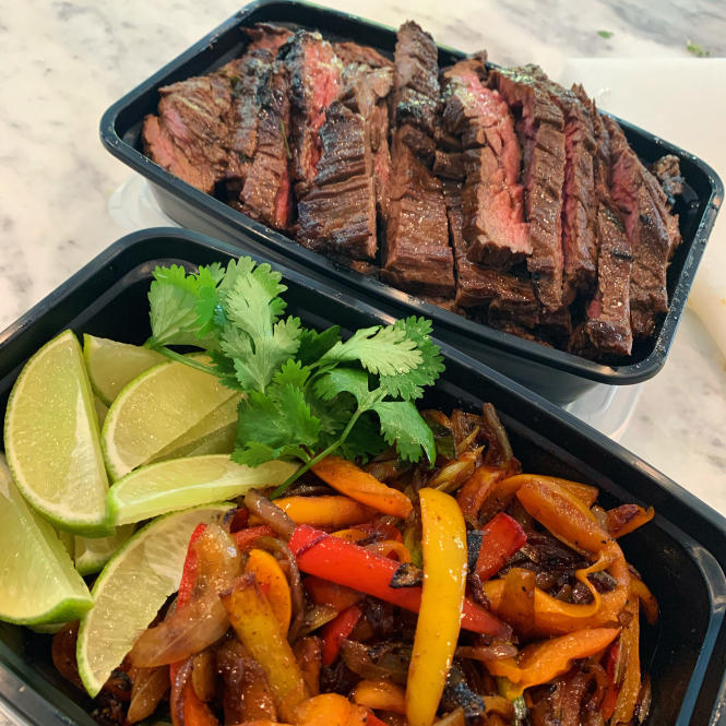 Seared Beef and Peppers from the Graze Gourmet's meal prep menu.