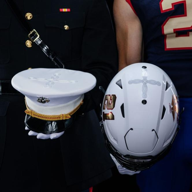 Navy Vs. Air Force specialty football uniforms honor the US Marine Corps