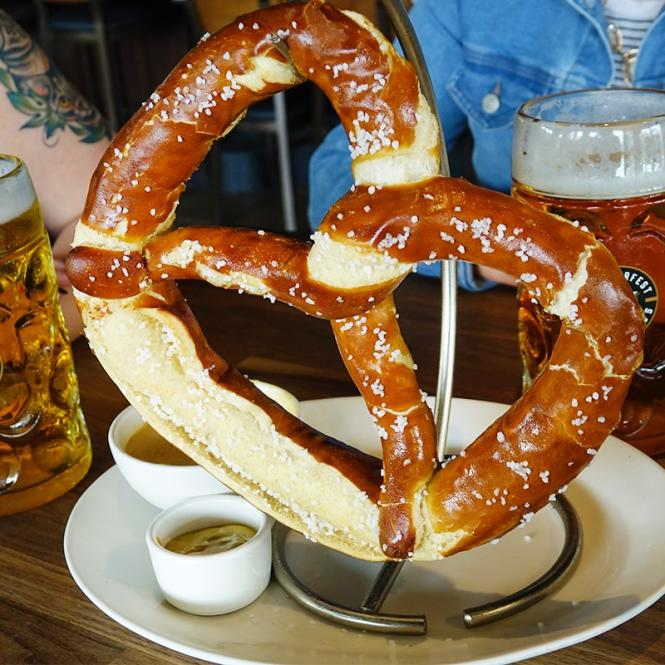 Bavarian Pretzel and beer at the Yard House.