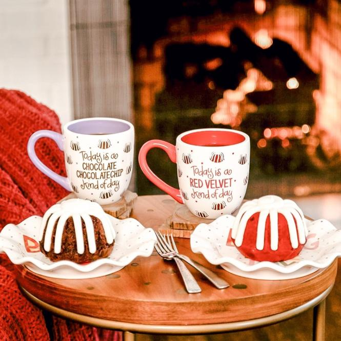 Chocolate Chip and Red Velvet bundlets by the fire.