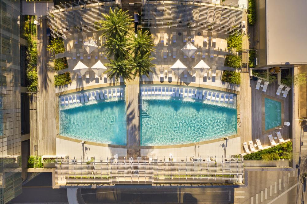 overhead view of the Pool at the Fairmont hotel in Austin Texas