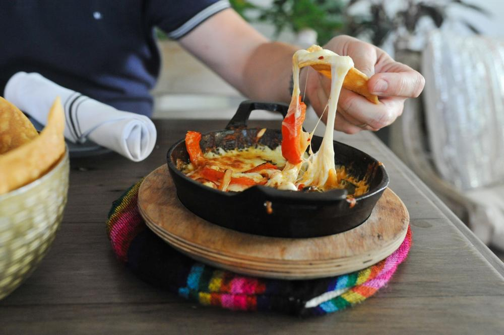 Queso Fundido with House made Tortilla Chips at Grizzeldas restaurant in Austin Texas