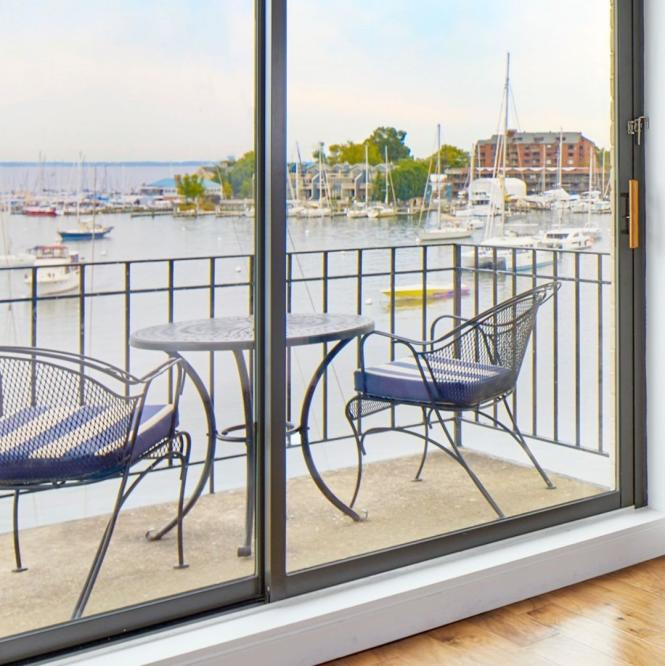 The Annapolis Hotel sits directly on the Annapolis Harbor.