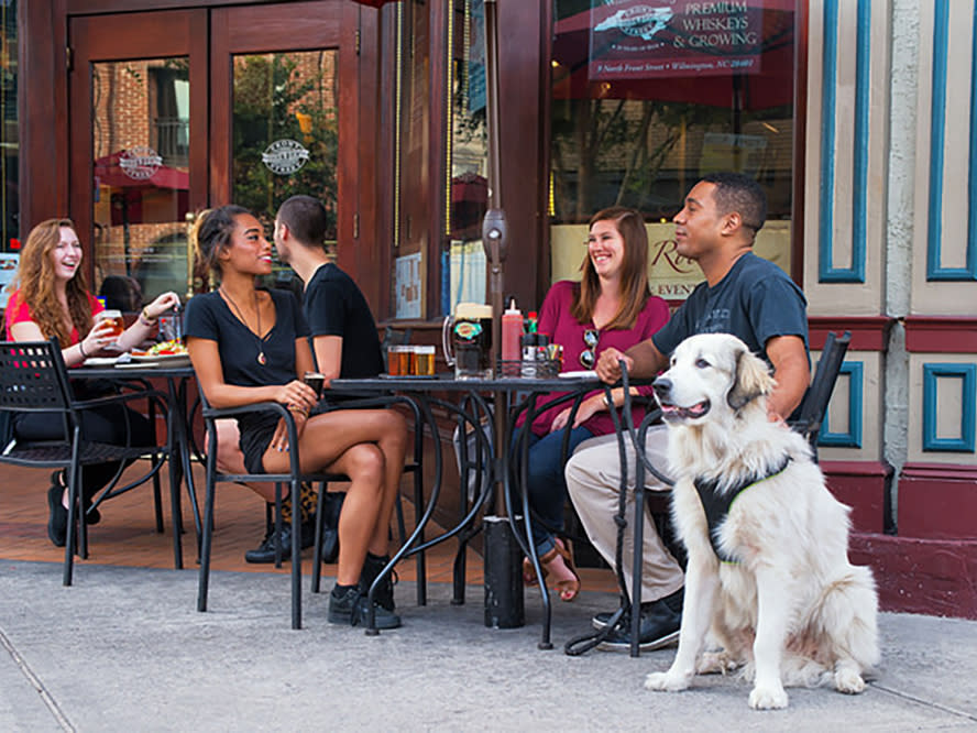 Front Street Brewery Outside Dining with dog