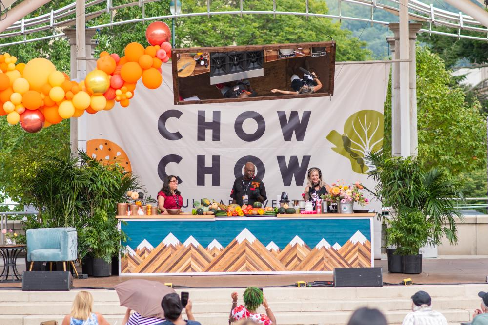 A cooking presentation at Asheville's inaugural culinary festival, Chow Chow.