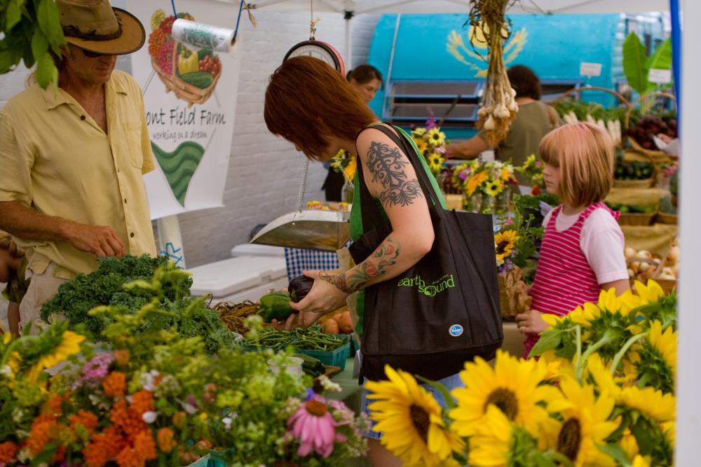 Patrons shopping at Athens Farmers Market
