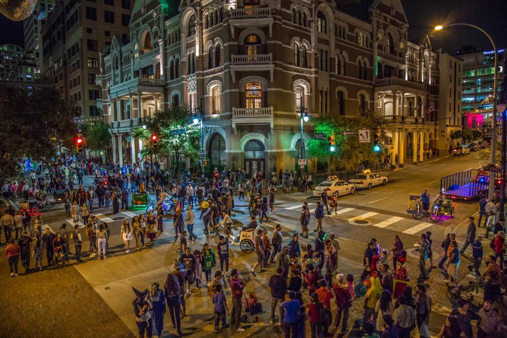 Street scene on Sixth Street at the Driskill Hotel on Halloween in Austin Texas