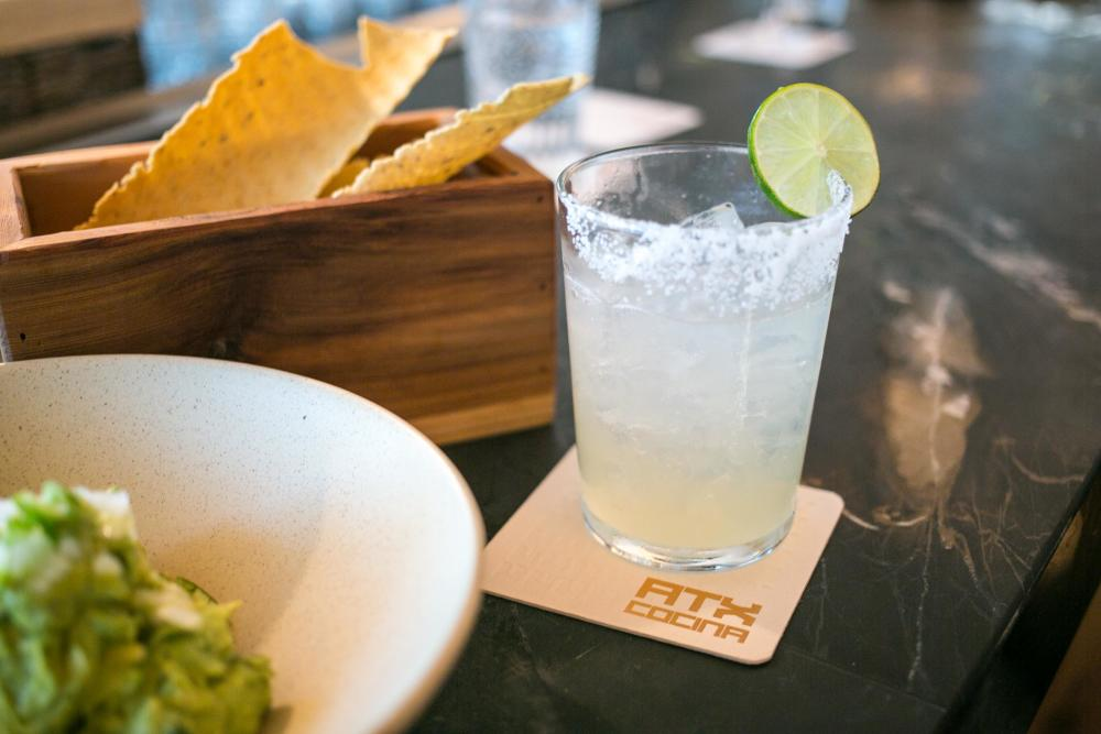 Margarita and chips with guacamole at ATX Cocina in Austin Texas