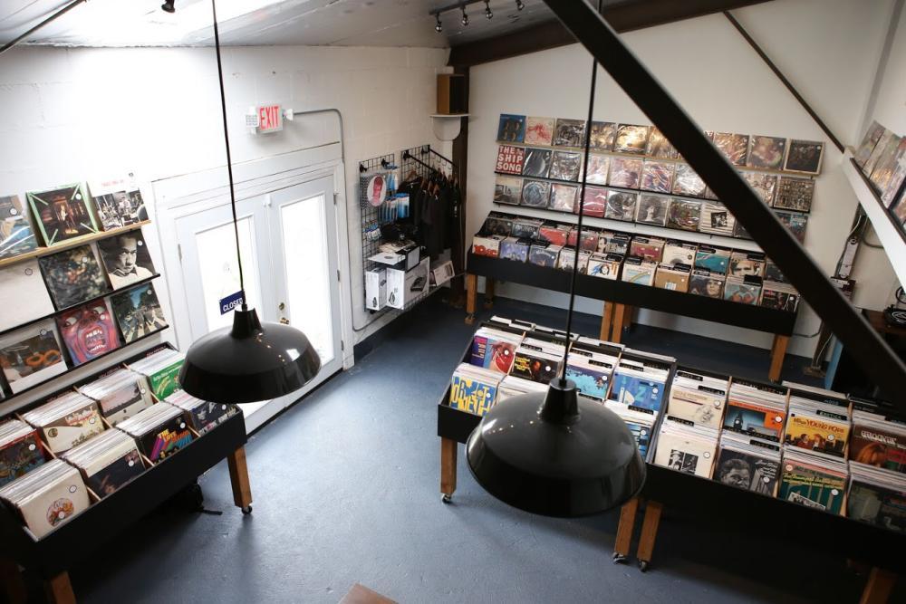 Interior of BLK Vinyl record store in Austin texas