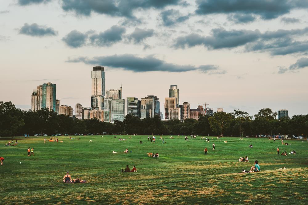 Zilker Park and downtown skyline of Austin Texas