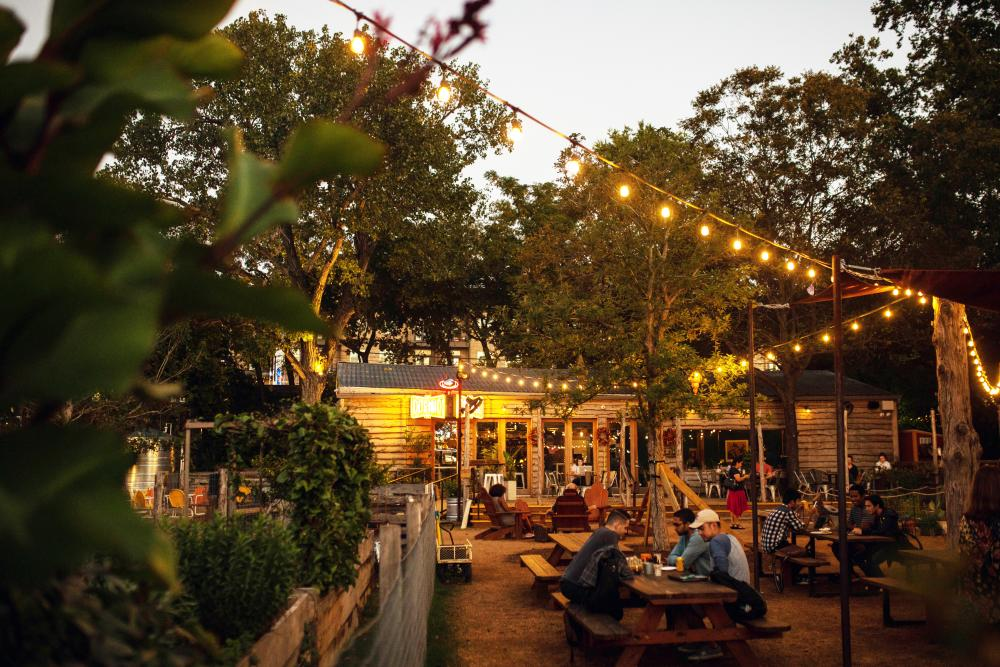 string lights on the patio at Cosmic Coffee and Beer Garden in austin texas