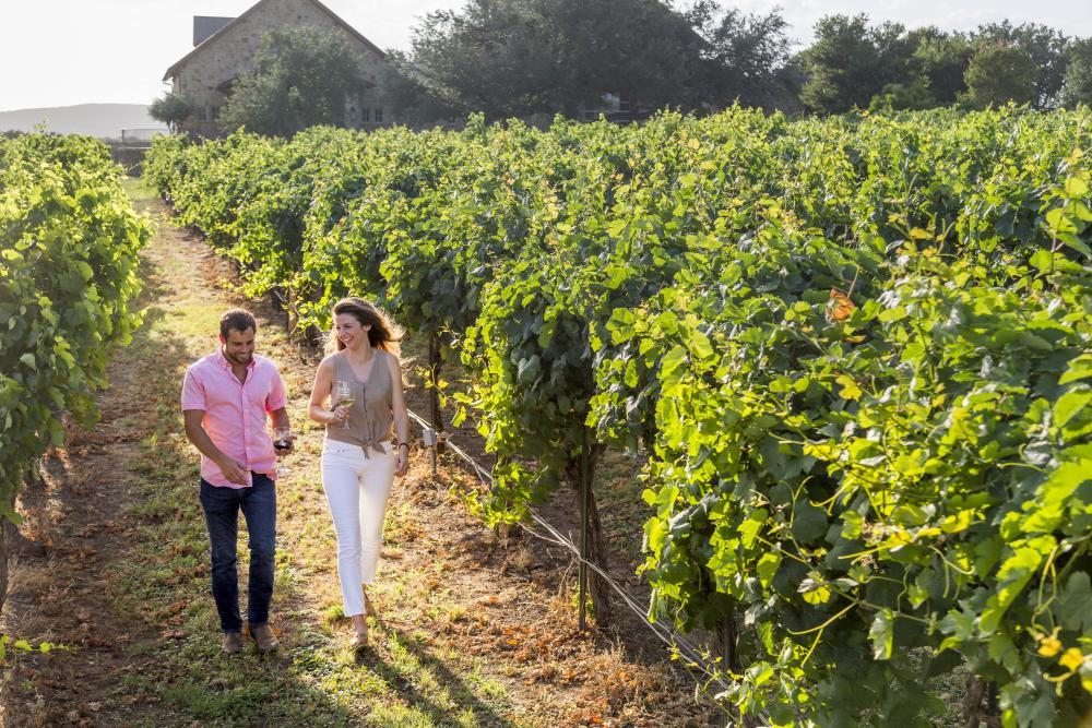 Couple walks through vineyard in Marble Falls Texas