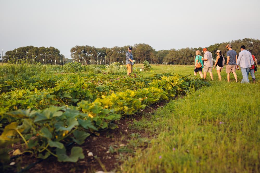 People on farm tour at Vista Brewing near Austin TX