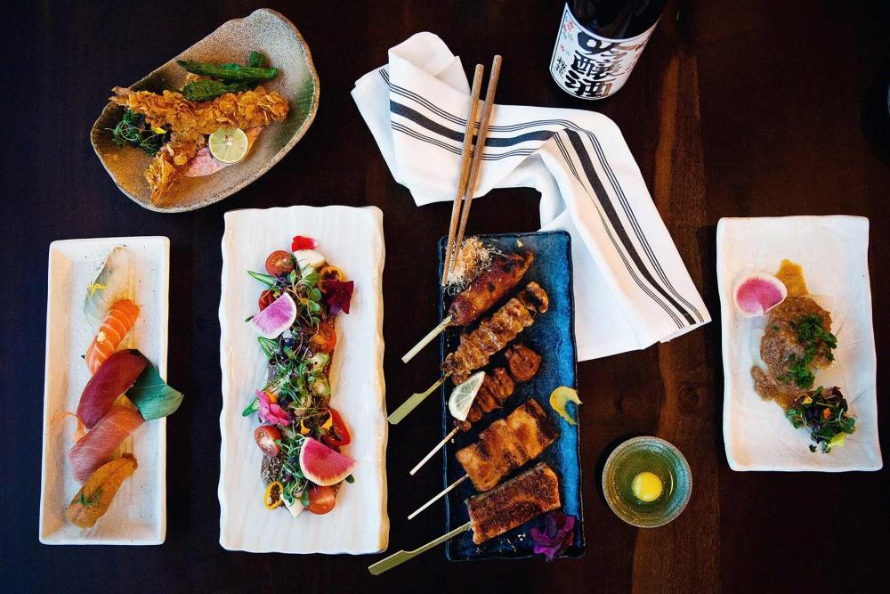 skewers and sushi at Fukumoto in Austin Texas