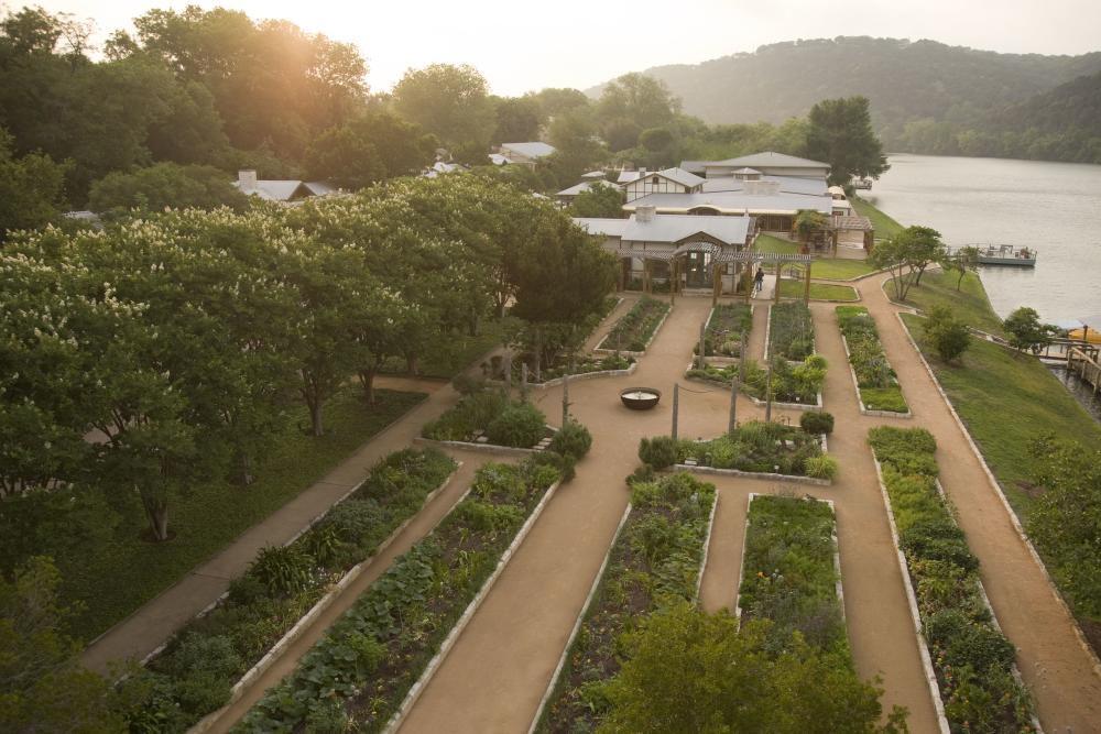 Lake Austin Spa Resort Garden and walking trails at Sunrise in Austin Texas