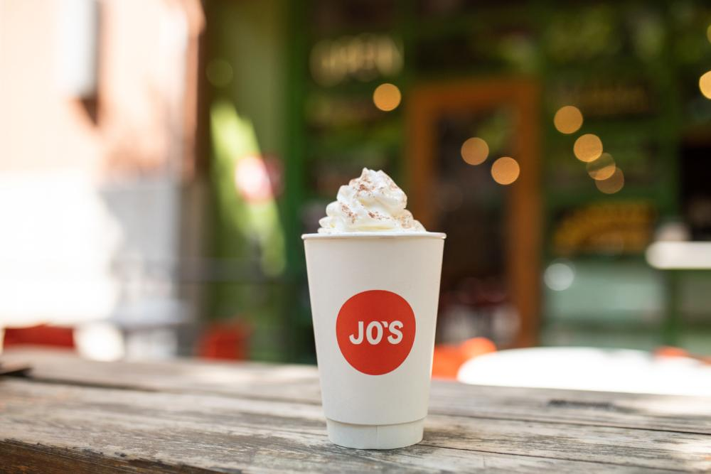 coffee with whipped cream from Jo's Coffee 2ND Street location in Austin Texas