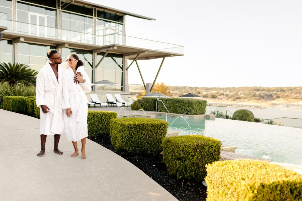couple in robes at lakeway resort and spa in austin texas