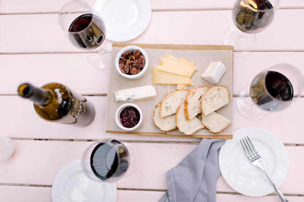 Cheese Plate and wine glasses at Mattie's restaurant in Austin Texas