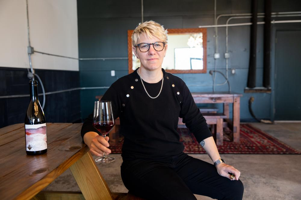 Owner Rae Wilson at Wine for the People tasting room in Austin Texas
