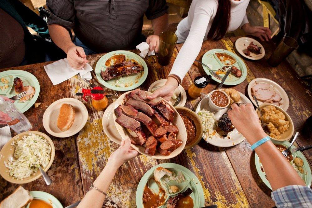 People dining at Salt Lick BBQ in Driftwood near Austin Texas