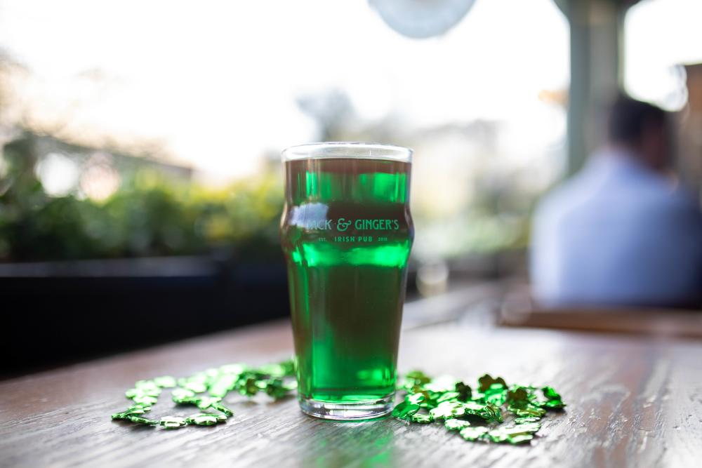 Saint Patricks Day green Beer at Jack and Gingers Irish Pub in Austin Texas