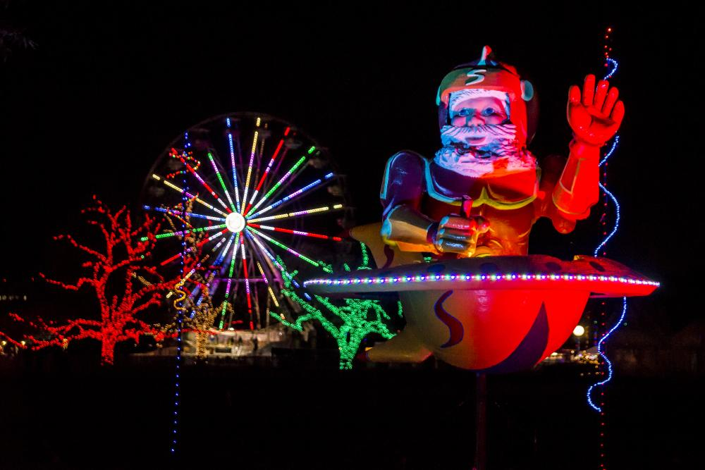 Christmas lights and ferris wheel at Trail of Lights in Austin Texas