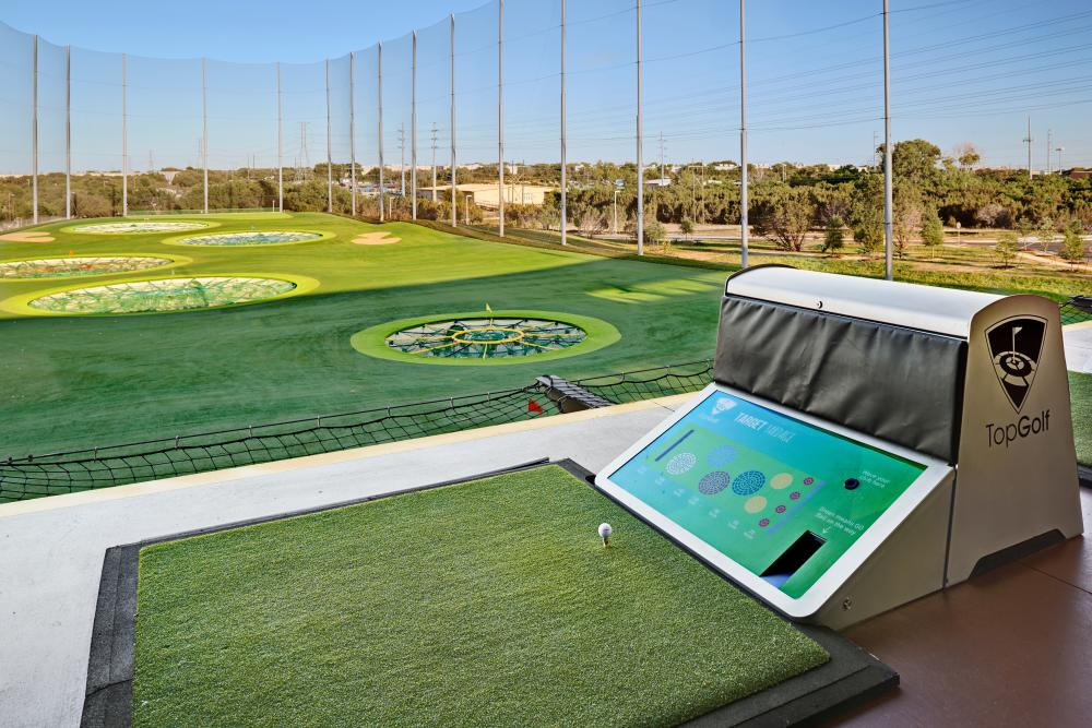 target bay at TopGolf Austin texas with tee and green