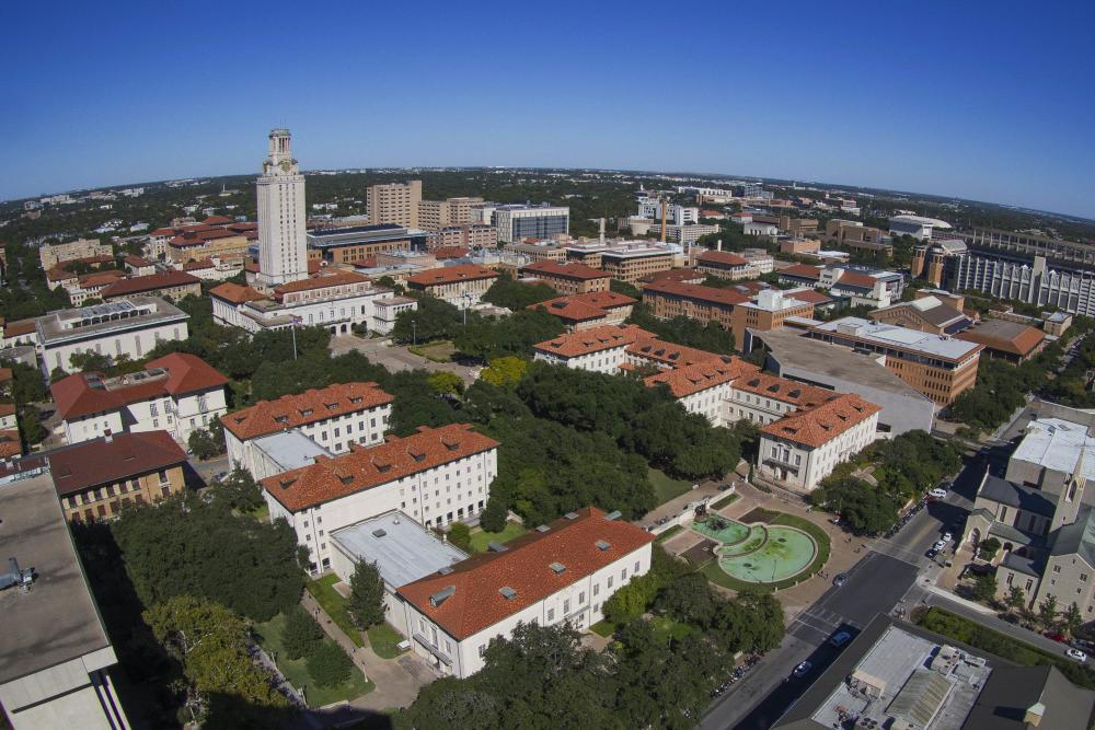 Aerial of the University of Texas at Austin campus and tower