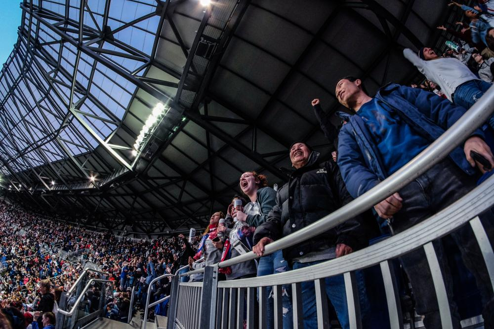 Fans cheer on the US Womens National Team