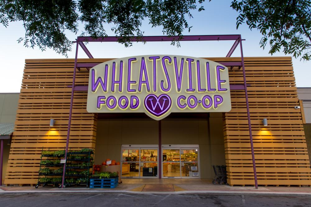 Exterior of Wheatsville Food Coops South Lamar location in Austin Texas