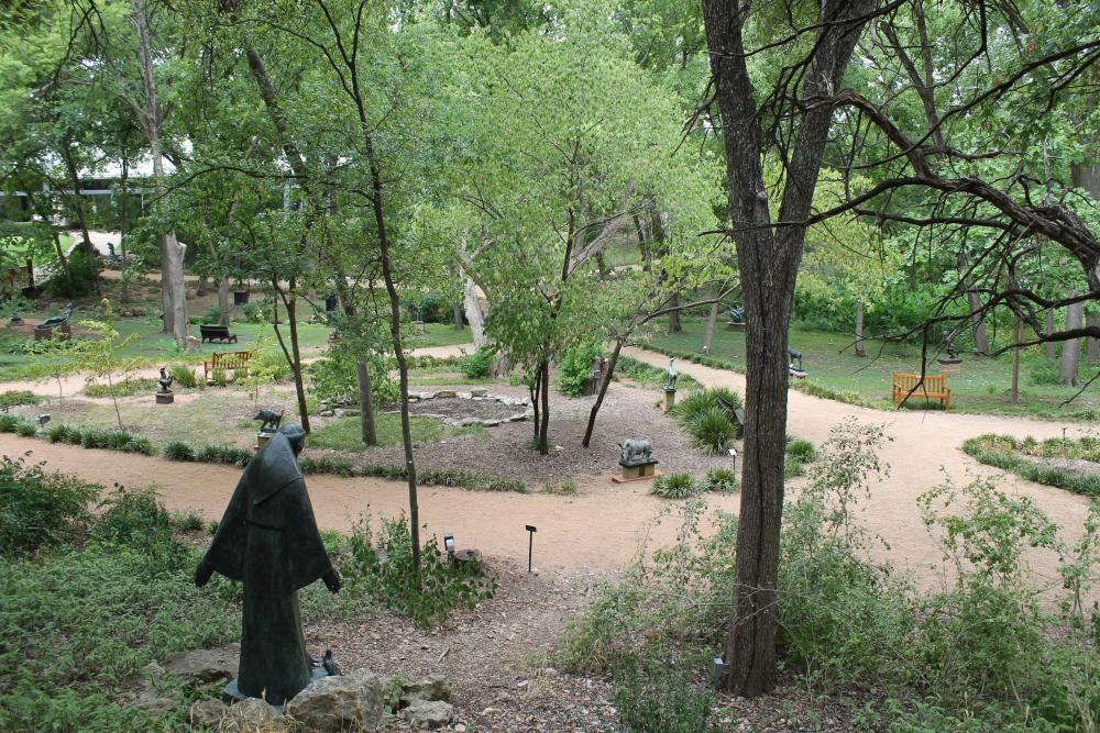 Gravel pathways at UMLAUF Sculpture Garden and Musuem in Austin Texas