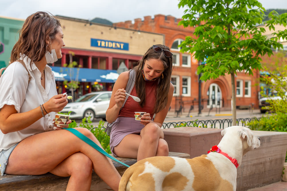 Women Eating Ice Cream Downtown
