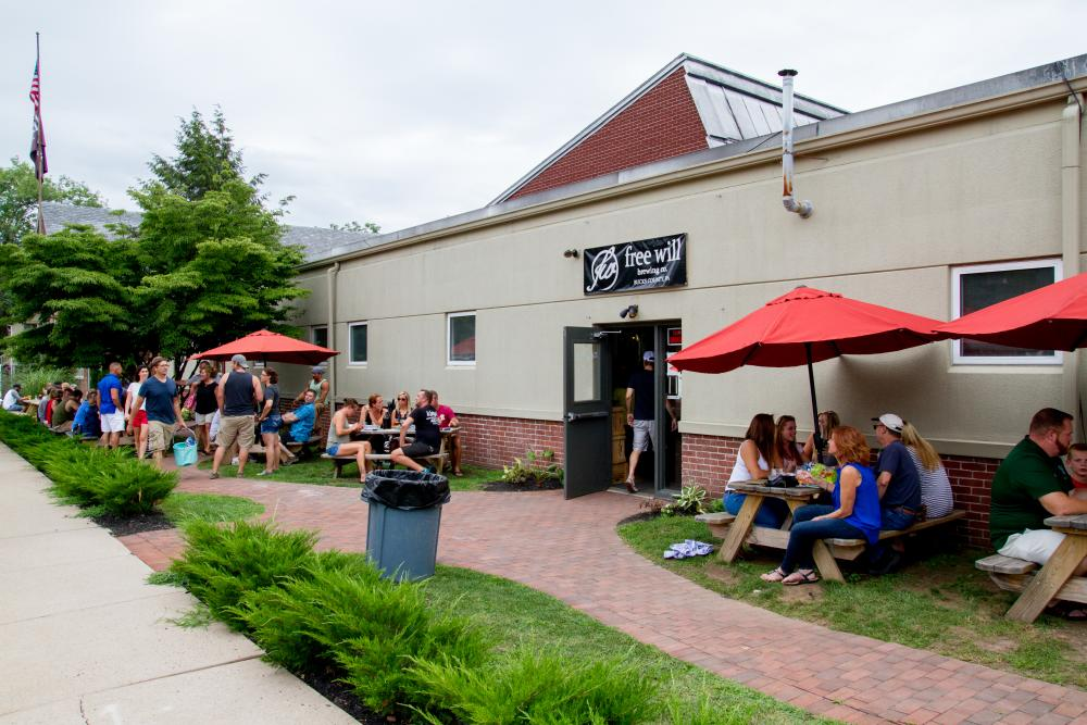 Outdoor seating at Free Will Brewing